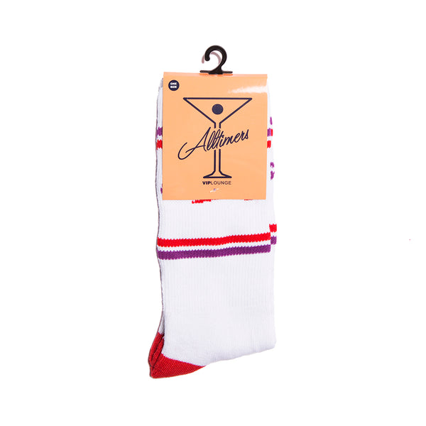 ESTATE SOCK WHITE/RED/PURPLE