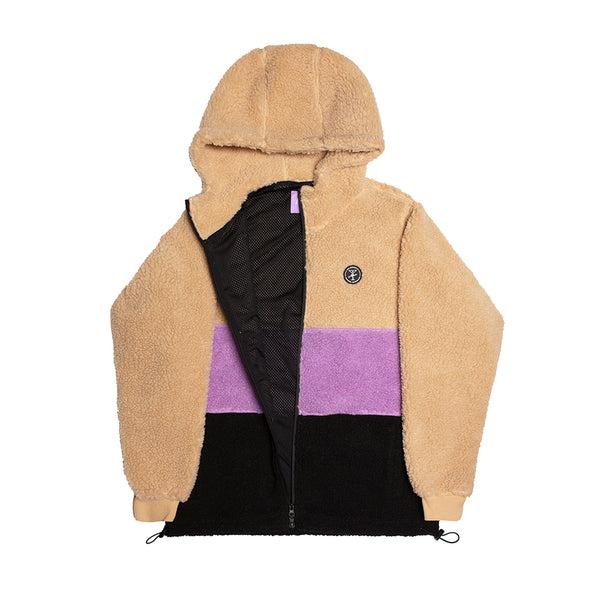 COUSINS HOODED TOP TAN/PURPLE/BLACK
