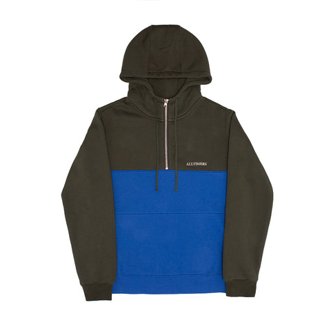 STRUCK HALF ZIP HOODY GREEN/BLUE