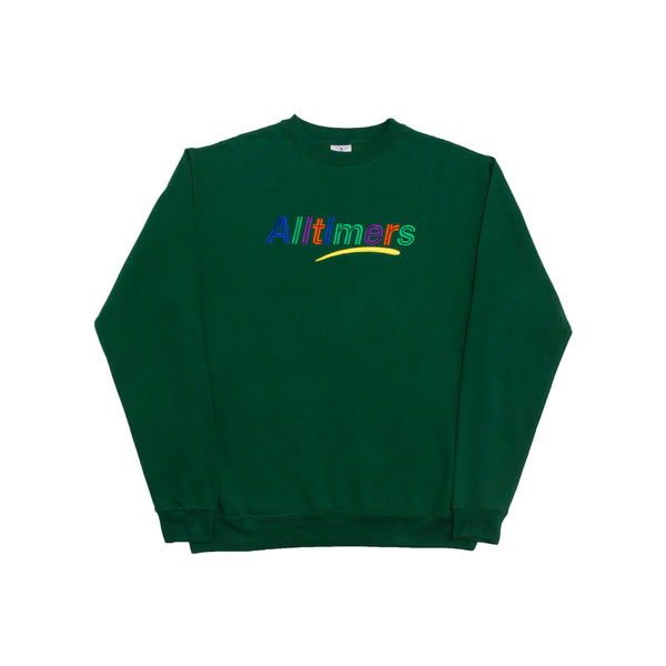 ESTATE EMBROIDERED CREW FOREST GREEN