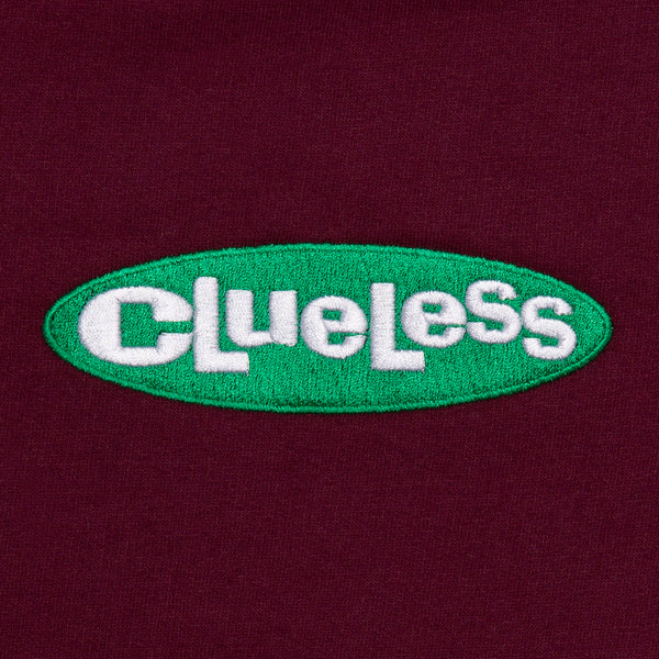 CLUELESS EMBROIDERED CREW MAROON