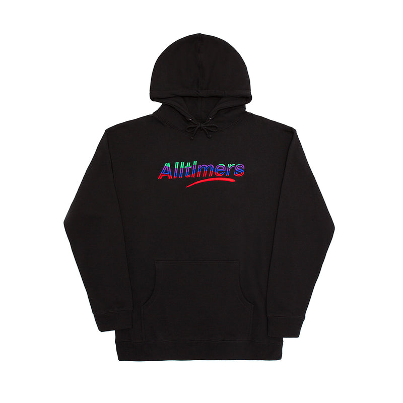 EMBROIDERED WAVE ESTATE HOODY BLACK
