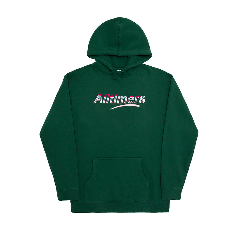 EMBROIDERED WAVE ESTATE HOODY DARK GREEN