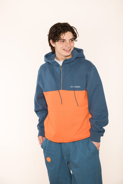 STRUCK HALF ZIP HOODY BLUE/ORANGE