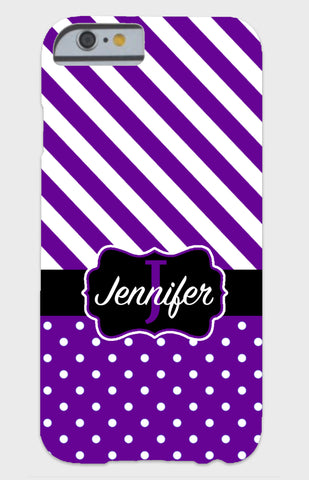 Purple Stripes & Dots Monogram