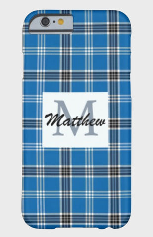 Blue Plaid Monogram