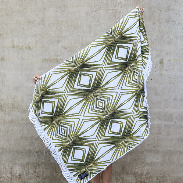 Beach Towel - Golden Geometric Palm Frond