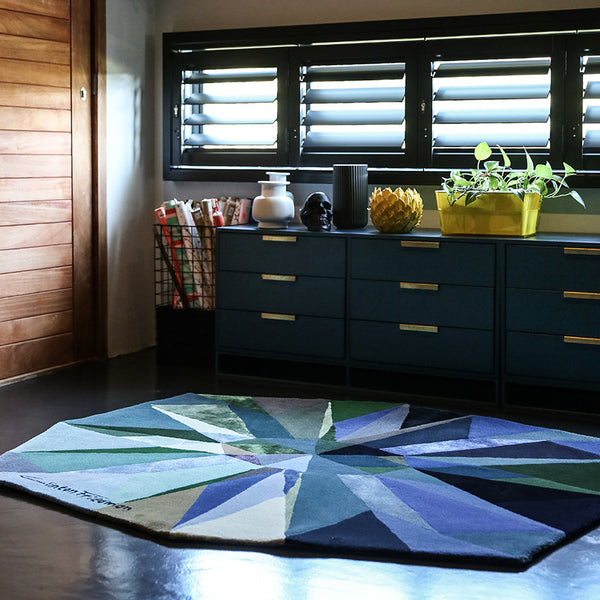 'Adorn _ Pacific' - Hand tufted, Wool & Bamboo Silk Rug