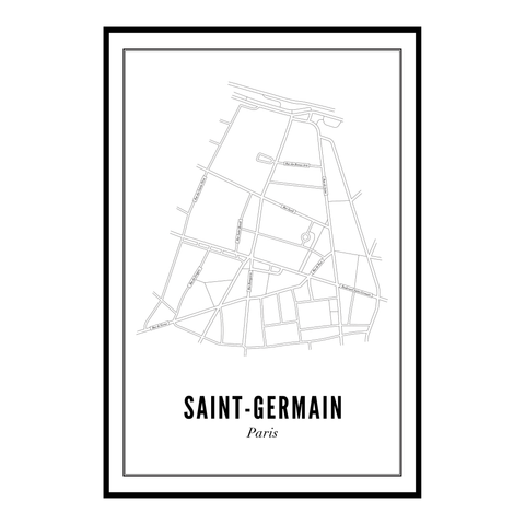 Saint-Germain, Paris kaart - wijck prints