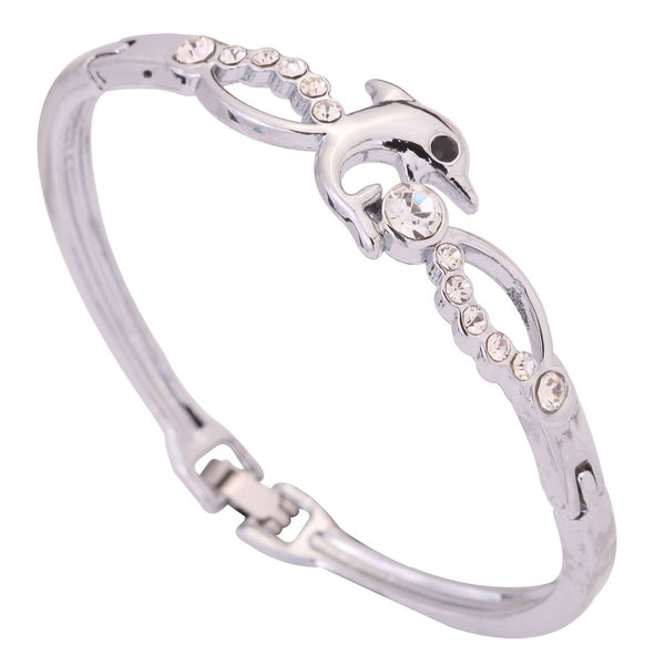 Elegant Silver Dolphin Bangle