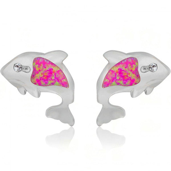 925 Silver Filled Opal Stone Dolphin Stud Earrings