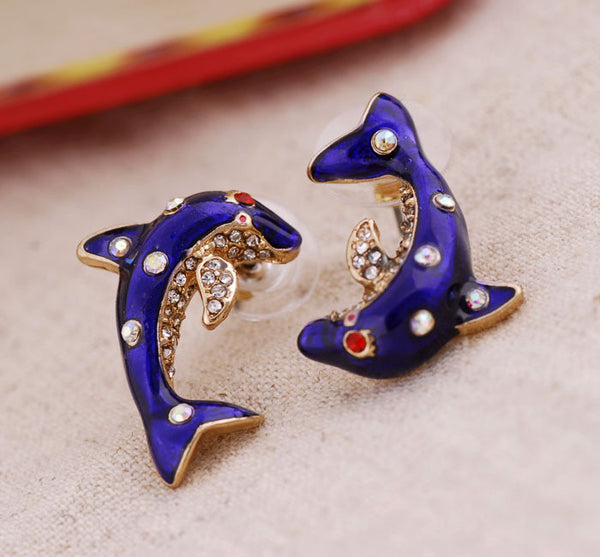 Asymmetrical Rhinestone Elegant Blue Dolphin Earrings