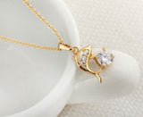 Intricate Gold Plated Crystal Dolphin Necklace - For her