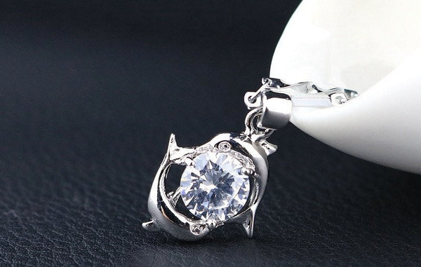 Beautiful Zircon Double Dolphin Necklace and Pendant