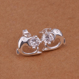 Silver Plated Stone Inlayed Dolphin Earrings
