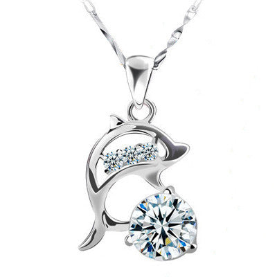 Trendy AAA Cubic Zircon Dolphin Pendant Necklace