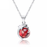925 Sterling Silver Plated Red Agate Dolphin Pendant Necklace