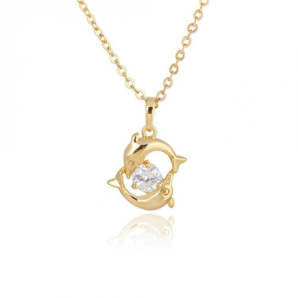 18K Gold Plated Crystal Pendant Dolphin Necklace