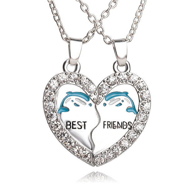 Best Friends Rhinestone Dolphin Necklace With Split Broken Heart