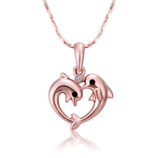 18K Real Rose Gold Plated Heart Shaped Dolphin Pendant and Necklace