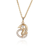18k Gold Plated Crystal Pendant and Choker Dolphin Necklace