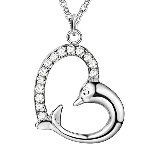 Silver Plated Zircon Heart Shaped Dolphin Necklace & Pendant
