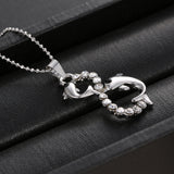 Hot Vintage Double Infinity Crystal Dolphin Pendant Necklace