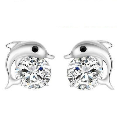 Silver Plated Rhinestone Dolphin Charm Stud Earrings