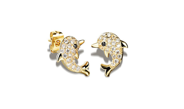 18K Gold/Silver Plated Dolphin Shaped Stud Earrings