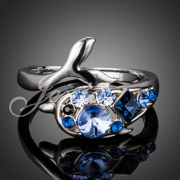 18K White Gold Plated Blue Stellux Austrian Crystal Dolphin Ring