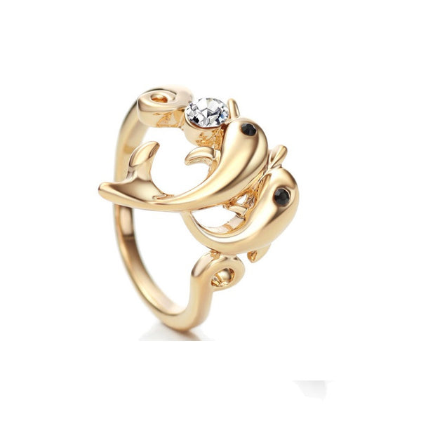 14K Gold Plated Austrian Rhinestone Dolphin Ring