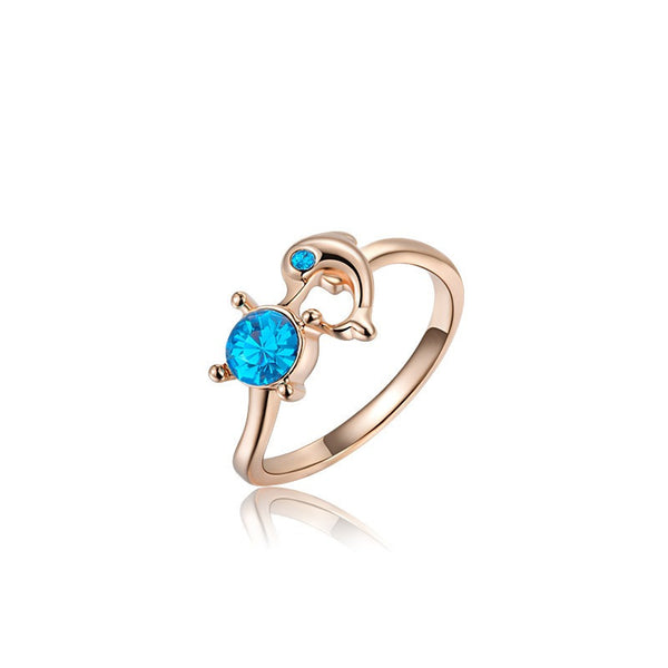 Rose Gold Plated Austrian Rhinestone Dolphin Ring
