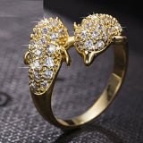 18K Gold Plated AAA Cubic Zircon Filled Dolphin Ring