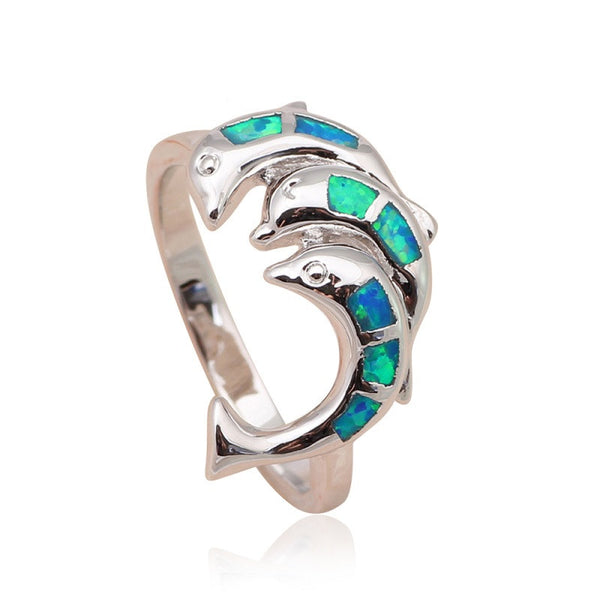 Blue Fire Opal Silver Plated Dolphin Ring
