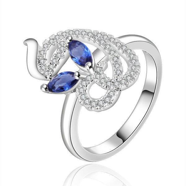 Silver Plated Cubic Zirconia Cocktail Dolphin Ring