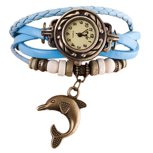 Excellent Quartz Weave Leather Dolphin Watch Bracelet - blue