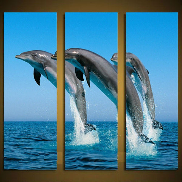 4 Pieces Framed Modern Jumping Dolphins Decorative Wall Arts