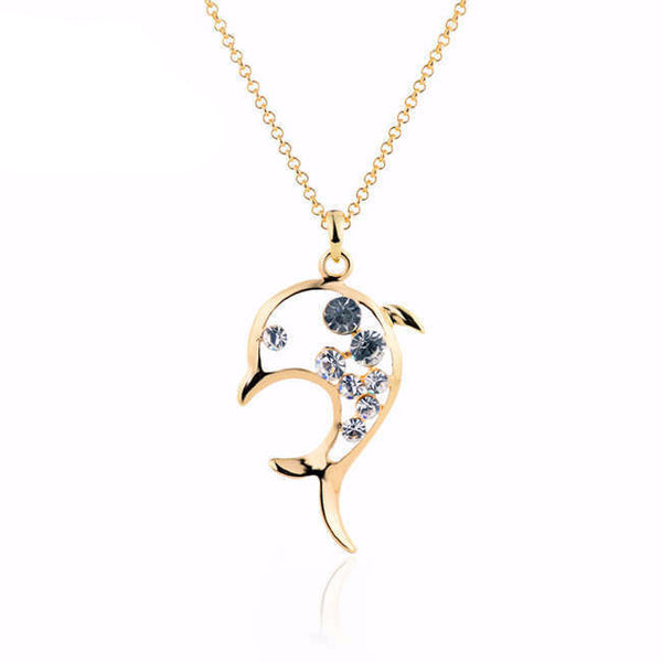 18K Gold Rhinestone Filled Stunning Dolphin Necklace and Pendant