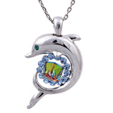 Stunning Silver Plated Crystal Dolphin Necklace and Pendant