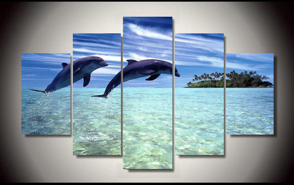 5 Pieces Amazing Leaping Dolphin Wall Arts