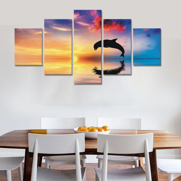 5 Pieces Beautiful Sunset Dolphin Wall Art - Framed Mirrors