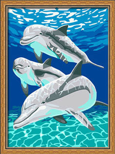 Gorgeous Frame Dolphin Oil Painting