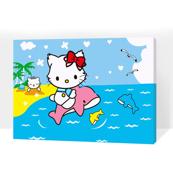 Framed Cute Cat and Dolphin Painting - Perfect for any kids room !!