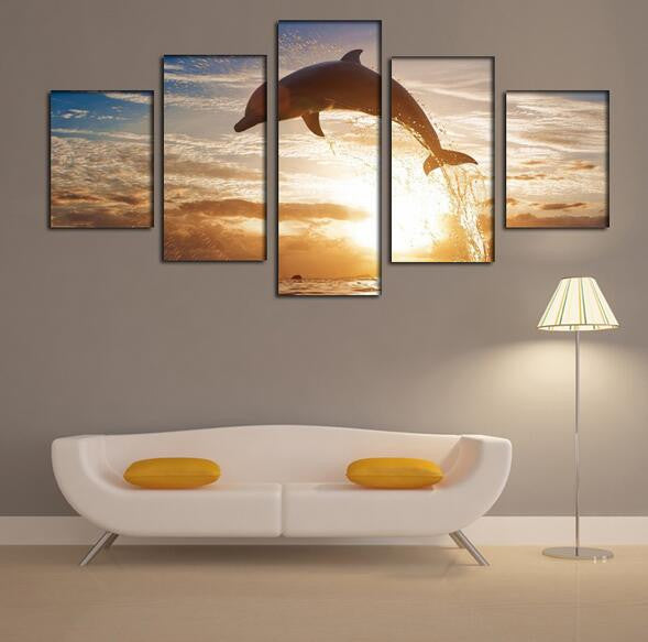 5 Piece Framed Cloudy Sunset Hand Painted Dolphin Wall Art