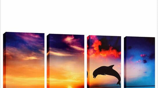 Stunning Oil Painted Sunset Dolphin Canvas Wall Art