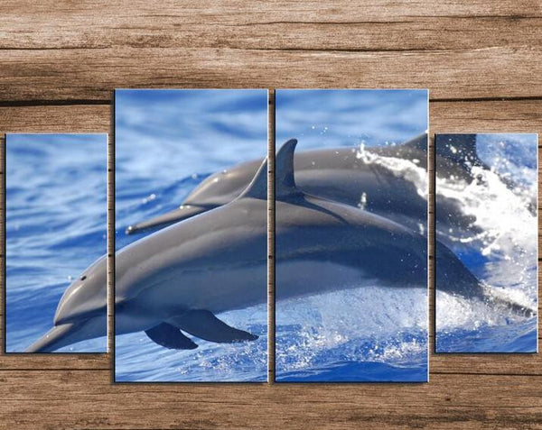4 Piece Framed Leaping Dolphin Hand Painted Wall Arts