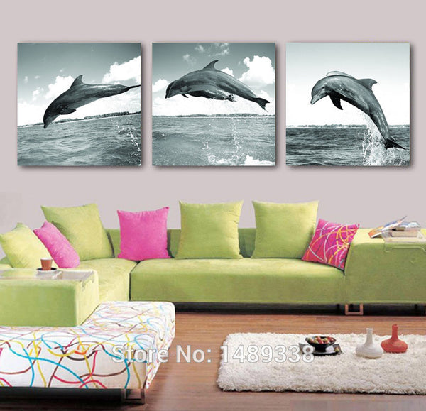 3 Piece High-quality Framed Modern Jumping Dolphin Wall Art