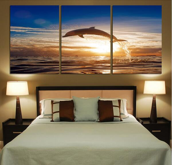 Dolphin Seascape Canvas Wall Art - 3 Pieces