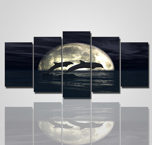 5 Pieces Moon and Dolphin Modern Wall Art