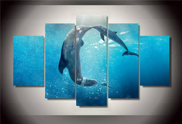 Stunning 5 Piece Romantic Dolphin Ocean Wall Art
